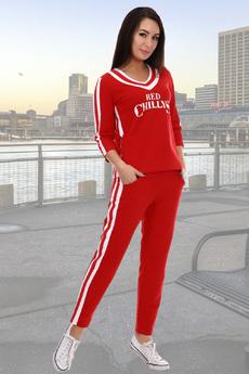 Красный костюм в спортивном стиле Натали